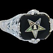 Estate Art Deco 10K White Gold Onyx Enamel Order of Eastern Star Masonic Ring 2g