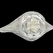Vintage 14 Karat Gold Flowers .56ct Genuine Champagne Diamond Engagement Ring