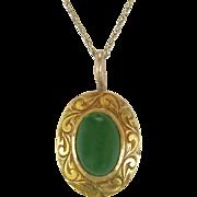 Vintage Estate 14K Yellow Gold Engraved Cabochon Green Jade Pendant 1.7g