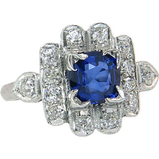 Vintage Estate Platinum .93ct Genuine Diamond & Sapphire Engagement Ring 3.7g