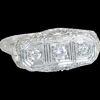 Antique Vintage Deco .20ct Genuine Diamond 18K Gold Engagement 3 Stone Ring Band