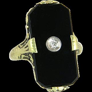 Vintage 14K Yellow Gold Genuine Diamond & Black Onyx Art Deco Dinner Ring 3.3g