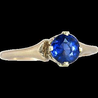 Vintage J.R. Wood 14K Yellow Gold .94ct Genuine Blue Sapphire Art Deco Ring 2.4g