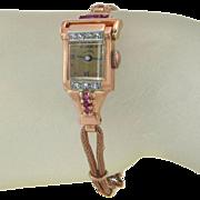 Vintage Ollendorff Rose Gold .25ct Genuine Diamond and Ruby Ladies Wrist Watch