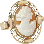 Vintage Estate 14k Yellow Gold Hand Carved Orange & White Cameo Ring