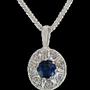 Estate 14K White Gold .85ct Genuine Diamond & Blue Sapphire Art Deco Pendant
