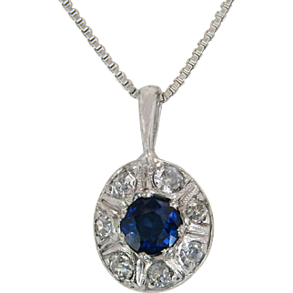 Estate 14K White Gold .85ct Genuine Diamond & Blue Sapphire Art Deco Pendant