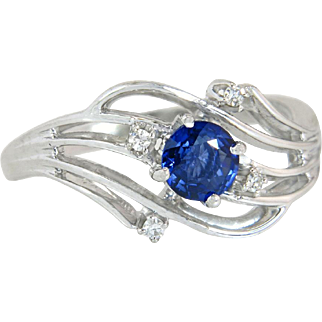 Vintage Estate Jabel 18K White Gold .65ct Genuine Diamond & Blue Sapphire Ring