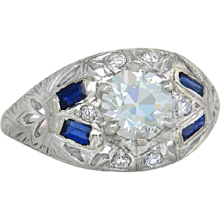 Estate GIA Certified 1.09ct K VS2 Diamond & Sapphire 18k Gold Engagement Ring