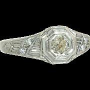 Estate 18k White Gold .14ct Genuine Champagne & White Diamond Ring
