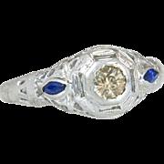 Estate 18k White Gold .23ct Genuine Champagne Diamond & Blue Sapphire Ring 2.2g