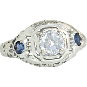 Estate 18k Gold .55ct Genuine Diamond & Sapphire Art Deco Engagement Ring 2.2g