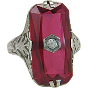 Art Deco 14K White Gold 9.00ct Genuine Diamond & Ruby Ring