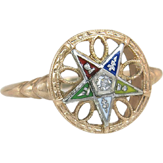 Antique 10K Yellow Gold Genuine Diamond Order of Eastern Star Masonic Ring
