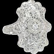 Estate .05ct Genuine Diamond 14K White Gold Flowers Art Deco Engagement Ring