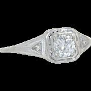 Estate .42ct Genuine Diamond 14K White Gold Art Deco Engagement Ring