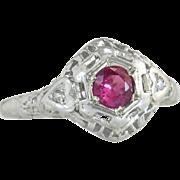 Estate 18K White Gold Filigree Flowers .27ct Ruby & Diamond Art Deco Ring