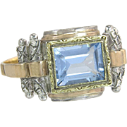 Estate 14K Two Tone Gold 1.30ct Blue Topaz Art Deco Ring