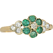 Antique Estate 14K Yellow Gold .60ct Genuine Diamond & Emerald Victorian Ring