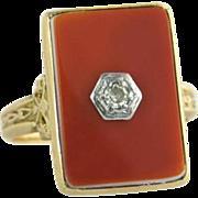 Estate 14K Yellow Gold Genuine Diamond & Carnelian Art Deco Ring 3.9g
