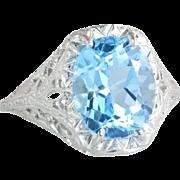 Vintage Estate 14 Karat White Gold 4.50ct Blue Topaz Filigree Ring