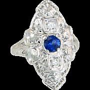 Estate .42ct Genuine Diamond & Sapphire 18K White Gold Bow Art Deco Ring 3.2g
