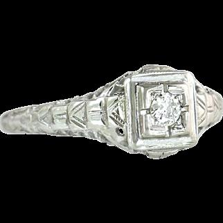 Estate 18K White Gold .15ct Genuine Diamond Engagement Ring