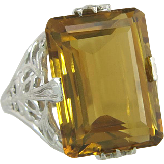 J.R. Wood Estate 14K White Gold 11.00ct Citrine Art Deco Ring