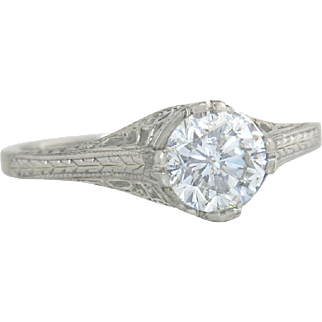 Art Deco Belais 1.00ct Genuine Diamond 18K White Gold Engagement Ring