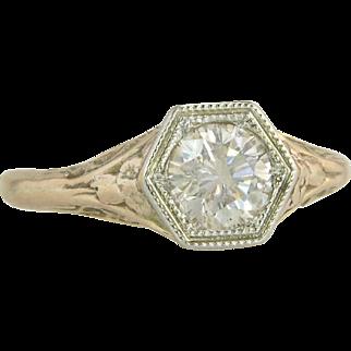 10k Gold .75ct Genuine Fancy Yellow Diamond Art Deco Engagement Ring