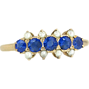 Vintage Estate Yellow 14 Karat Gold .50ct Blue Sapphire & Seed Pearl Victorian Ring
