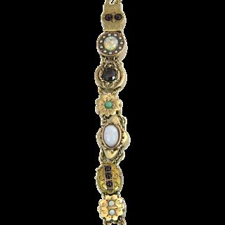 Antique Estate Opal Garnet Pearl Ruby Emerald 14k Gold Victorian Slide Bracelet