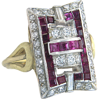 14K Two Tone Gold 2.40ct Genuine Diamond & Ruby Art Deco Dinner Ring