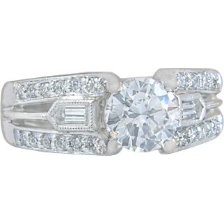 Estate GIA Certified G SI1 Diamond 1.48ct 18K White Gold Engagement Ring