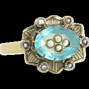 Vintage Estate 14 Karat Gold 1.75ct Blue Tourmaline & Seed Pearl Victorian Ring