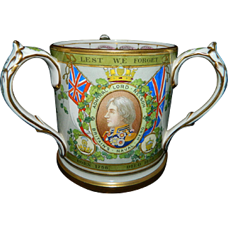 Antique rare Copeland Spode large commemorative loving cup of Nelson / Trafalgar