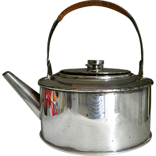 Antique Christopher Dresser silver plated kettle / tea pot made by Hukin & Heath