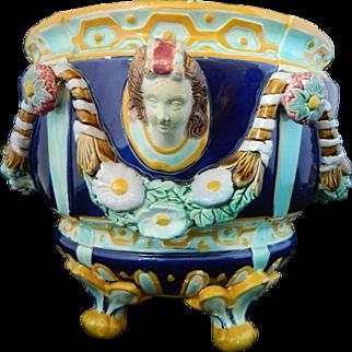 Antique Joseph Holdcroft Majolica pottery jardiniere / planter /cachepot / vase