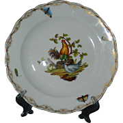Rare antique 19th century German Meissen hand painted porcelain plate - roosters / chickens / hens