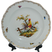 Rare antique 19th century German Meissen hand painted plate - roosters / chickens / hens