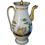 Antique 1820 French Old Paris Empire era hand painted porcelain coffee pot
