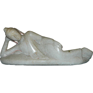 Antique 19th century Burmese alabaster figurine of laying Buddha / Mandalay
