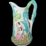 Antique parian wear water pitcher jug Bennington American pottery
