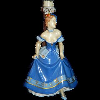 Vintage 1930's Art Deco Royal Dux lamp base figurine of lady