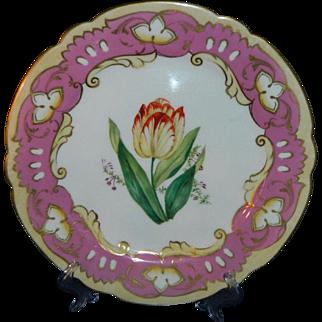 Antique circa 1825 Georgian Coalport desert porcelain plate with pink border and flowers