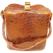 Fantastic rare 1940's crocodile handbag super cute shape