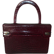 Stunning vintage 1960's red wine crocodile handbag with matching accessories