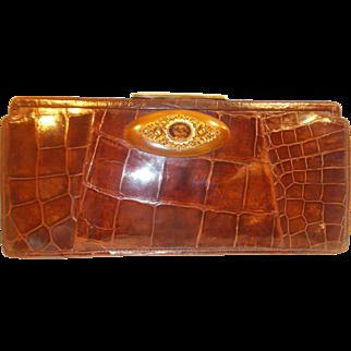 Beautiful vintage 1930's crocodile skin toffee colored clutch bag