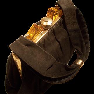 Vintage Art Deco 1930's super soft black suede handbag with apple juice Bakelite and brass frame top