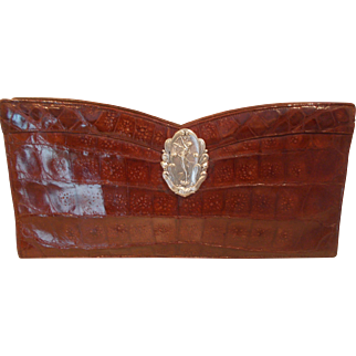 Amazing large 1940's toffee colored alligator clutch bag